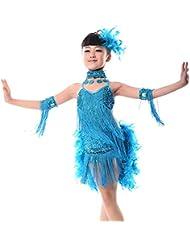 Kid Senza Maniche Halter Moderno Palcoscenico Samba Rumba Tango Salsa Sala da Ballo Squadra Costume Sport e tempo libero Gtagain Latino Paillettes Nappa Danza Ragazze Vesti Gonna Danza
