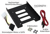 Faconet Einbaurahmen von 2.5 auf 3.5 KIT mit Schrauben Stromadapter SATA Kabel für Festplatten / SSD, Metall Ausführung, Wechselrahmen