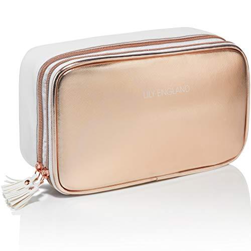 Bolso organizador de maquillaje Oro Rosa de Lily England | Bolso de almacenamiento/Neceser. Garantía de duración. Gran idea para regalar.