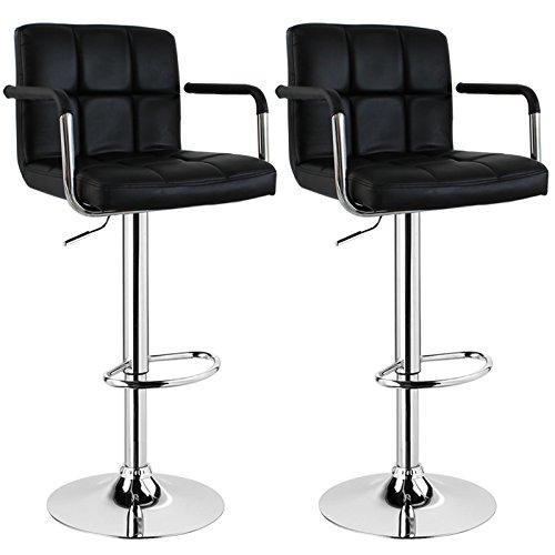 WOLTU BH16 Serie Design Barhocker mit Armlehne , 2er Set , stufenlose Höhenverstellung , verchromter Stahl , Antirutschgummi , pflegeleichter Kunstleder , gut gepolsterte Sitzfläche (Schwarz) - Kunstleder Gepolsterte Sitzfläche