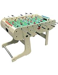 Riley HFT-5N Mesa de futbolín plegable (Dimensiones de 167 x 132 x 71 cm, incluye bolas y marcador partido, jugadores futbol rojo y azul, palancas cromadas, madera barnizada) - Haya