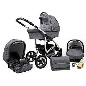 Lux4Kids 3 in 1 Combi pram Pushchair Stroller Complete Set with car seat Isofix Larmax Grey Flex 4in1 car seat +Isofix   1