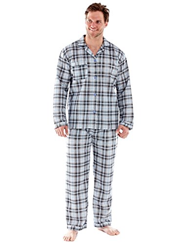 Harvey James Herren Quilt lange Ärmel Schlafanzug Nachthemd blauen und grauen Check Grau / Blau Pyjamas