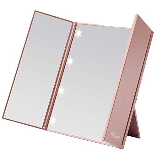 Espejo de maquillaje Miss Sweet, compacto, con triple despliegue, con iluminación