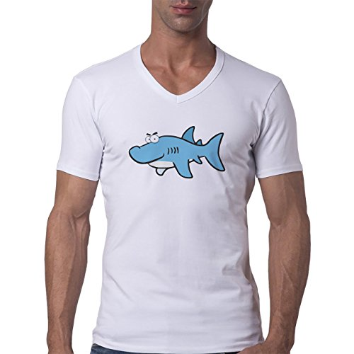 Shark Sea Fish Predator Blue Happy Cartoon Herren V-Neck T-Shirt Weiß