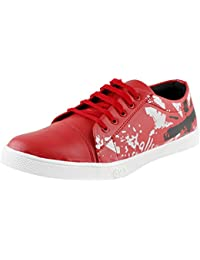 Trendy Men Sneakers For Casual/Party Wear - Sporty Flag Print Lace-Up Shoes For Men - Red By Saasha