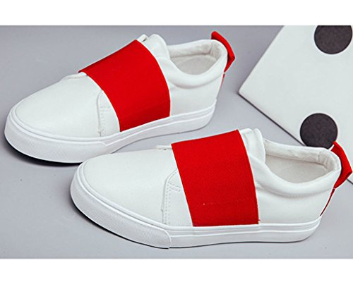 Minetom Damen Sommer Herbst Segeltuch Slip-On Schuhe Loafer Schuhe Mode Weiße Schuhe Rot