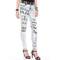 Cipo&Baxx WD370 Boyalı Baskılı Buz Mavi Slim Fit Bayan Jeans Kot