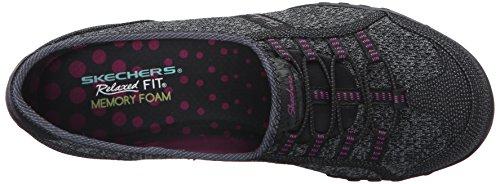 Skechers Breathe-easyallure, Baskets Basses femme Black/Charcoal Mesh/Pink Trim