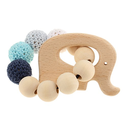 Gazechimp 1 Stück Baby Beißring Häkeln Perlen Armband Säugling Greifen Spielzeug Zahnring - Elephant