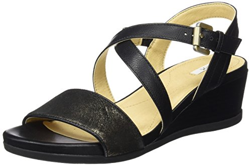 Geox d marykarmen a, sandali con zeppa donna, nero (black), 41 eu