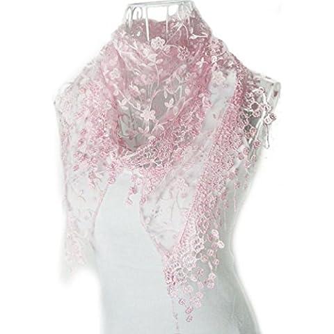 Bufandas para Mujer,Xinan Encaje Borla Impresión Floral Triángulo Mantilla Mantón Bufanda (Rosa)