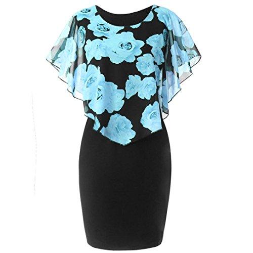 CLOOM Partykleid Damen Abendkleid Schal Kleider Elegant ärmelloses Kleid Sexy Promkleider Patchwork Pullover Dress 2018 Neu Mode Bodycon Strandkleid Casual Cocktail Minidress (Himmelblau, XL)
