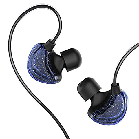 UiiSii CM5 Galaxy Ohrhörer Dynamic Driver Koaxial In Ear Sport Kopfhörer Ergonomische mit Mic (Galaxie blau)