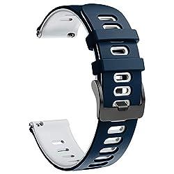 NotoCity Armband für Samsung Galaxy Watch 46mm/Gear S3 Frontier/Gear S3 Classic/Huawei Watch GT 2 /Huawei Watch GT/Sport/Active/Classic, 22mm Quick-Fit Ersatz Uhrenarmbänder (Weiss-Dunkelblau)