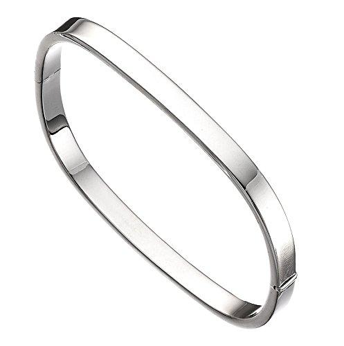 TF Damen Frauen Armband Armreifen Sterling Silber 925, kantiger sehr wertiger Armreifen, Juwelierqualität aus Deutschland