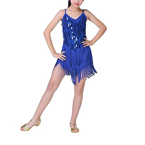 ESHOO Mädchen Latein Tanzkleid, Kinder Latin Rumba Salsa Tango Quaste Kleid Tanz ()