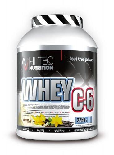 Hi Tec Nutrition-Whey C6 2250g - Whey Hydrolisat - Whey Isolat - Whey Konzentrat - 28% BCAA - 51% EAA -Super Lecker - Gute Löslichkeit - Extra Glutamin - Extra Verdauungsenzyme Geschmack Weisse Schokolad