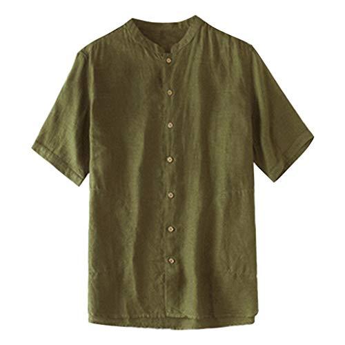 Tohole Herren Freizeithemd Männer Sommer Hemd Casual Regular Fit Oberteile T-Shirt Shirt Hippie Fisherman Sommerhemd Top Leinenhemd luftig schnelltrockend (Armeegrün,L)