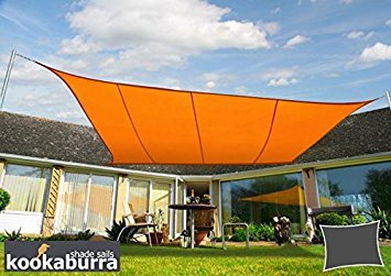 Kookaburra Voile d'Ombrage Imperméable 3,0m × 2,0m Rectangle Orange