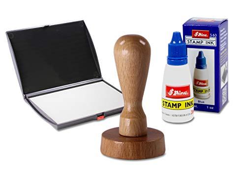 Holzstempel rund mit eigenem Stempeltext, Ø 40 mm, im Set inkl. Stempelkissen und blauer Stempelfarbe - Motivstempel, Firmenstempel, Adressstempel