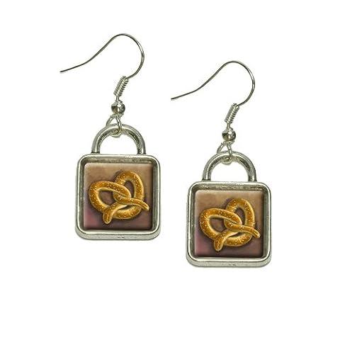 German Soft Pretzel Dangling Drop Square Charm Earrings