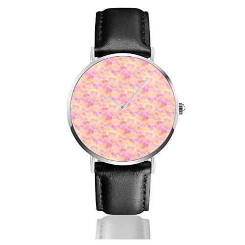 Armbanduhr Quarzuhr 15 05B Pink Orange Aquarell Wolken Miss Chiff Designs Casual Uhren für Herren Damen mit schwarzem Leder - Orange Aquarell