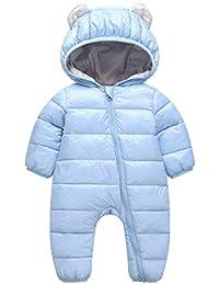 Traje de Esquí para Bebés K-Youth Ropa Bebé Invierno Traje de Nieve Peleles con Capucha Terciopelo Mameluco Bebé Recién Nacido Monos para Niños Niñas