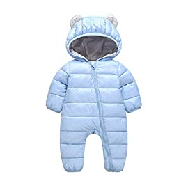 53648c5d6c9b5 Baby Snowsuit Boys Girls Hooded Rompers Children Winter Thickened Cotton  Warm Lined Onesies Clothes Jumpsuit Cute Solid Romper Coat for 0-24 Months  Baby
