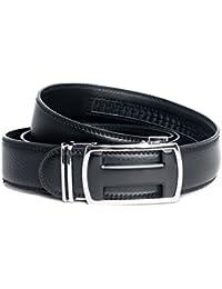 Kandharis Gürtel mit Automatikschließe Automatik Echt Leder für Herren Jeansgürtel kurzbar 3,5cm Breit Schwarz 154