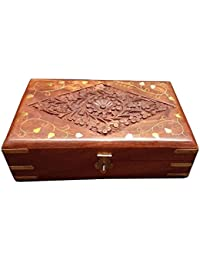 PMK Wooden Handmade Jewelry Box With Brass Inlay Golden Leaf Design Ideal For Women Earring, Neck Less Or Ornaments...