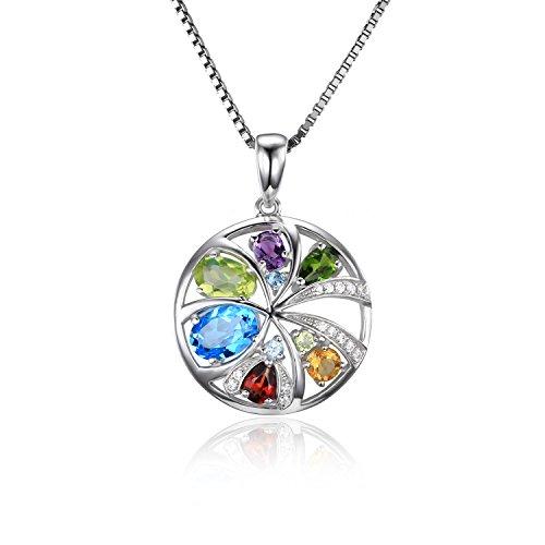 JewelryPalace Donna Gioiello Lusso 2.3ct Naturale Topazio Blu Svizzero Viola Ametista Citrino Granato Peridot Croma (Peridot Forma Di Cuore Ciondolo)