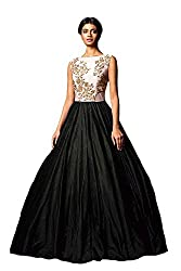 Jay Varudi Creation Women's Black & White Embrodried Silk Ball Gown ( Free Size_Semi-Stiched )