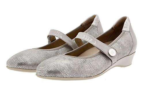 Chaussure femme confort en cuir Piesanto 8727 ville basse semelle amovible confortables amples Gris