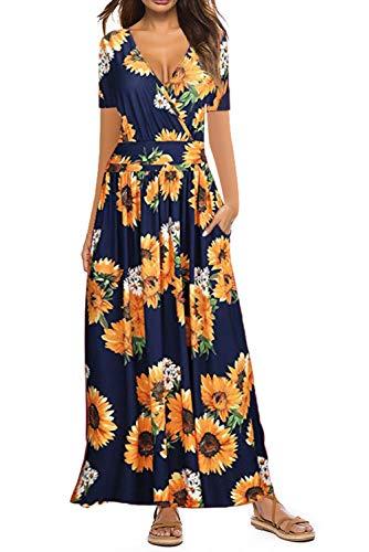 Damen Kleider Kurzarm V-Ausschnitt Lose Sommer Casual Lang Maxikleider Blumenmuster mit Taschen, Sonnenblume, L