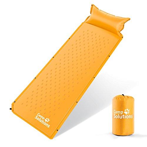 Camp solutions autogonfiabile mat aria di sonno con il cuscino - l185 leggeri x w60 x h2.5 cm 1kg arancione