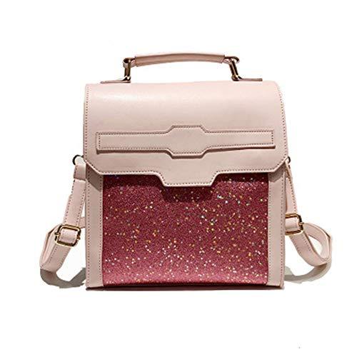 AOAO PU-Leder-Normallack-Nylon weicher Pailletten-Rucksack, schlanker minimalistischer Rucksack, Mode-Frauen müssen Gegenstände haben - Minimalistischer Rucksack