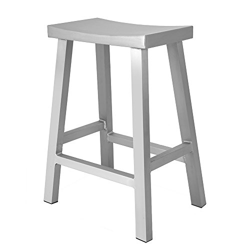 Renovoo Aluminium Sattelsitz Thekenhocker, kommerzielle Qualität, gebürstetes Aluminium-Finish, 61 cm Sitzhöhe, Indoor Outdoor, 1 Pack -