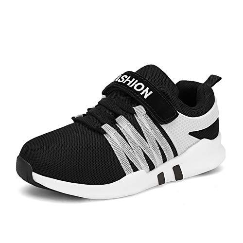 Qianliuk Kinder Sommer Mesh Atmungsaktive Turnschuhe mit Klettverschluss Kinder Rutschfeste Sneakers Leichte Schuhe für Mädchen Junge (Weiß-schule Tennis-schuhe)