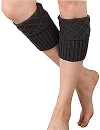 1par Mujer punto calentadores, tukis puertas Mujeres Sirven Calcetines Leg Warmers suave Otoño Invierno corta Stricken Pierna Sirven