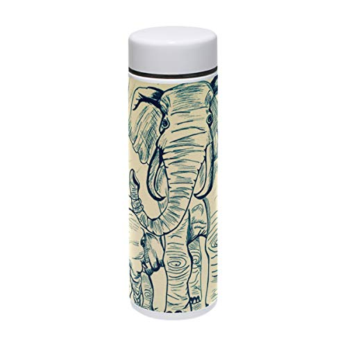 COOSUN Pintura Elefantes Acero Inoxidable Termo Botella Agua Aislante Vacío Taza a...