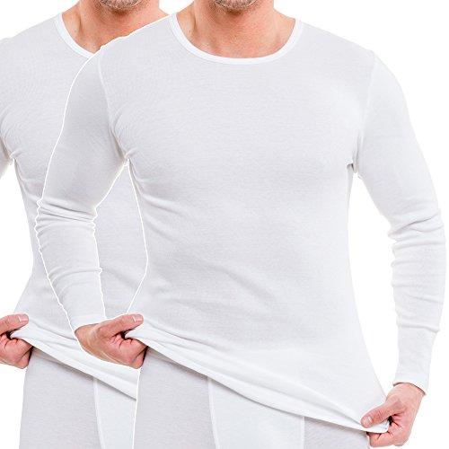 HERMKO 63640 2er Pack Funktionsshirt, langarm, Sportunterhemd für Herren - Funktionsunterwäsche, Farbe:weiß, Größe:D 6 = EU L