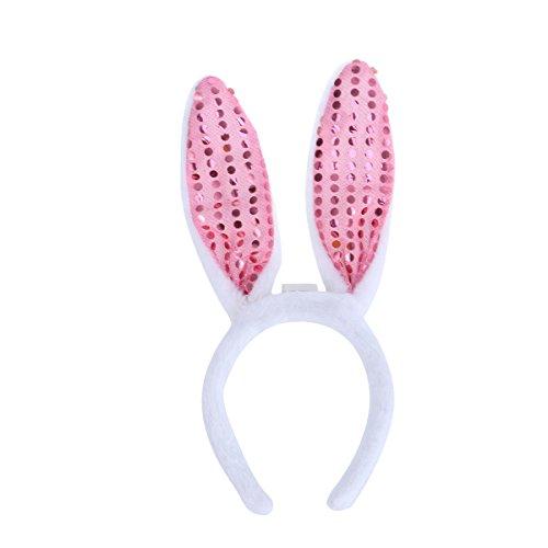 luoem Hasenohren-Haarreif LED Zubehör, Hase Ostern weiß rosa