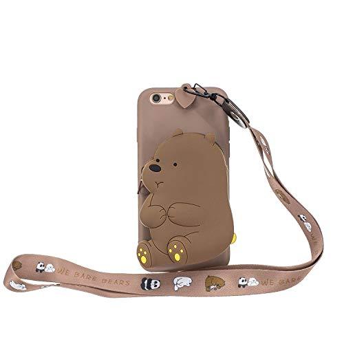 Miagon Silikon Hülle für iPhone 8/7,3D Süß Brieftasche Lager Tasche Design mit Halskette Kordel Schnur Handykette Necklace Band,Braun Bär