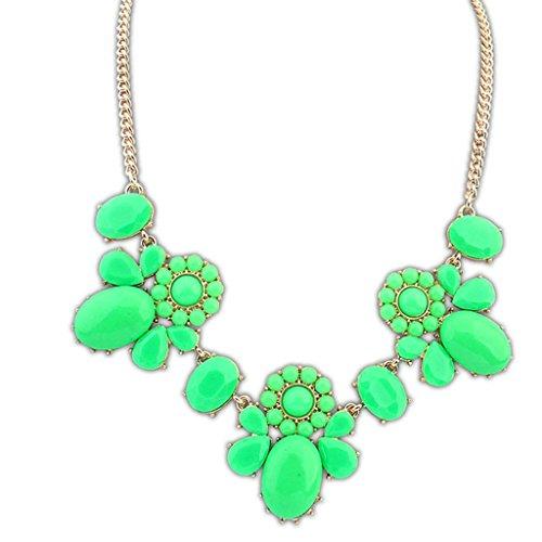 Epinki Damen Vergoldet Halskette, Damenkette Statementkette Choker Hawaiikette Multi Form Grün (Nobbies Kostüme)