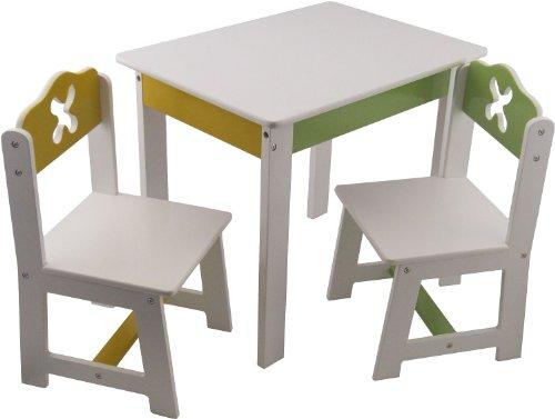 Bieco 4939200 - Tisch mit 2 Stühlen, weiß -