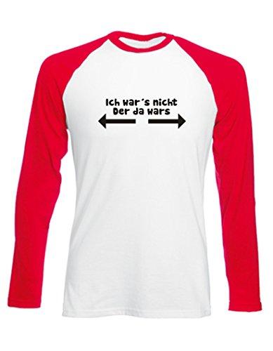 Kinder Baseball T-Shirt langarm (Farbe weiss/rot) (Größe 122/128) Ich wars nicht (Mädchen-raglan-t-shirt Weiße)
