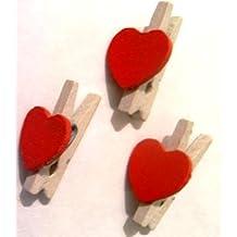 Sehlbach C504 - Pinzas mini de madera con corazón rojo (20 unidades)