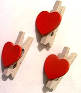 Mini Wooden Pegs with Red Heart (Pk 20). C504