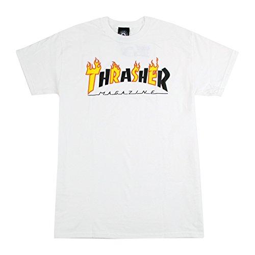 Thrasher t-shirt flame mag bianco (m, bianco)